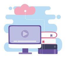 vídeo de computador, computação em nuvem e design de e-books
