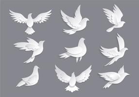 Dove ou Paloma Símbolos de vetores Paz