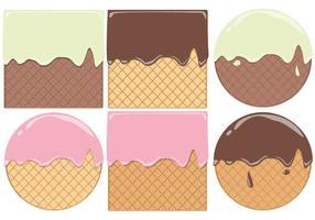 Redondo e quadrado Waffle Cone vetores Pattern