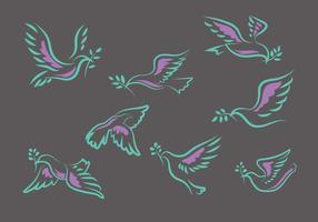 Pomba de voo ou Paloma tirado mão Set Ilustração vetor