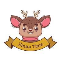banner de natal com uma rena de desenho animado