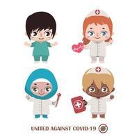 equipe de diversas enfermeiras lutando contra covid-19