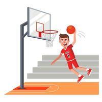 jogador de basquete com uniforme vermelho jogando bola na cesta