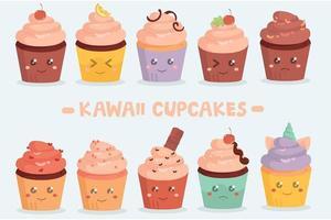 pacote de cupcakes kawaii vetor