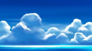 nuvens cumulonimbus no céu azul brilhante vetor