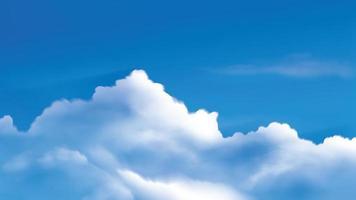 nuvens cumulus no céu azul brilhante vetor