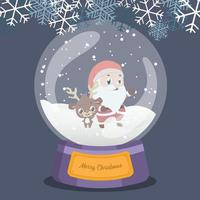 globo de neve de natal com renas fofas e papai noel dentro vetor