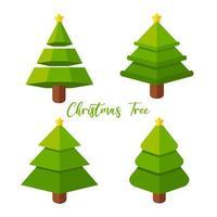 conjunto de árvore de natal de desenho animado vetor