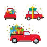 veículos vermelhos carregando grandes caixas de presente vetor