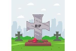 Cruz da sepultura do cemitério