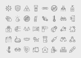 conjunto de ícones de contorno de prevenção de coronavírus