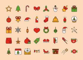 linha de natal e conjunto de ícones de preenchimento