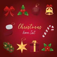 conjunto de ícones detalhados de natal