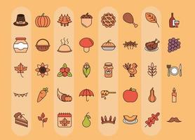 conjunto de ícones de celebração do dia de ação de graças