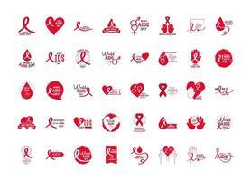 coleção de ícones de conscientização do dia mundial da aids