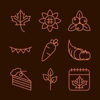 conjunto de ícones de celebração do dia de ação de graças vetor