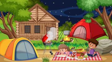 cena de piquenique com a família na floresta vetor