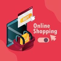 composição isométrica de compras online e comércio eletrônico