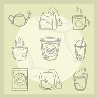 conjunto de ícones de hora do chá
