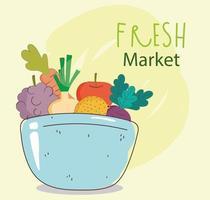 menu saudável e comida fresca vetor