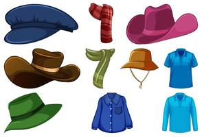 conjunto de chapéus e lenços da moda