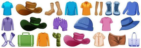 conjunto de acessórios de moda e roupas vetor