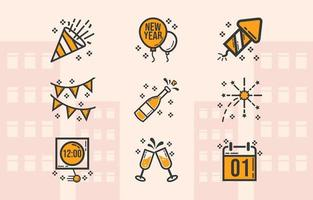 pacote de ícones simples para comemorar o ano novo