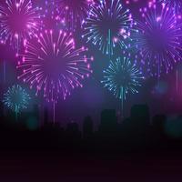 linda noite de fogos de artifício vetor