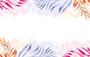 fundo aquarela com folhas coloridas vetor