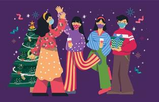 celebração de natal com amigos com protocolo vetor