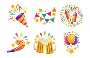 ícones coloridos da festa de ano novo