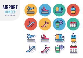Aeroporto Icon Set vetor