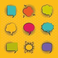 conjunto de ícones de balões de fala em estilo pop-art