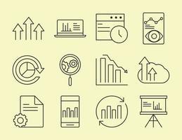 conjunto de ícones de análise de dados, negócios e estratégia de marketing