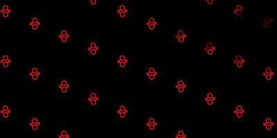 textura com símbolos vermelhos dos direitos das mulheres.