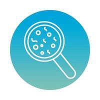 cultura de bactérias com ícone de estilo de bloco de lupa vetor