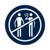 pessoas tossindo mal em estilo de silhueta de bloco de símbolo negado
