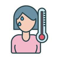 mulher com febre usando o estilo de preenchimento de termômetro