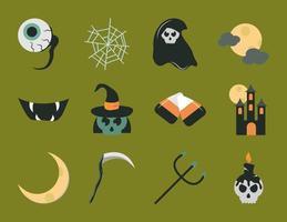 conjunto de ícones planos de celebração de halloween vetor