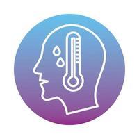 perfil humano com febre e ícone de estilo de bloco de termômetro vetor