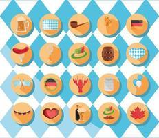 conjunto de ícones do festival da cerveja oktoberfest e celebração alemã