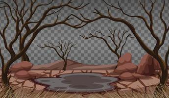 paisagem de terra rachada seca vetor