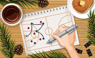 mão desenhando jogos de basquete no papel vetor