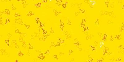padrão amarelo com elementos do feminismo.