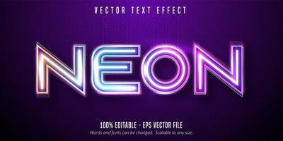 texto em néon, efeito de texto editável de estilo sinalização de luzes de néon vetor