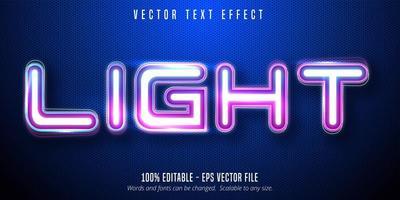 texto claro, efeito de texto editável de estilo de sinalização de luzes de néon vetor