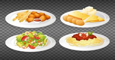 conjunto de pratos de comida vetor