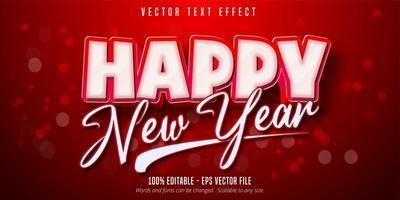 texto de feliz ano novo, efeito de texto editável de estilo natal vetor