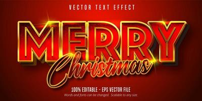 texto de feliz natal, efeito de texto editável de luxo estilo dourado sobre fundo de cor vermelha