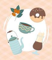 composição de bebidas na hora do café e do chá vetor